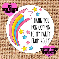 Personalised rainbow stars 24 party bag stickers sweet cone labels thank you rs