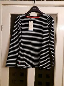 JOULES WOMENS HARBOUR STRIPE JERSEY TOP. BNWT. COLOUR. NAVY AND CREAM. SIZE.12