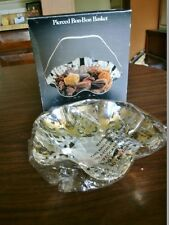 NEW Reticulated Silver Plate Bon-Bon Basket, Bread Tray, Candy Dish with Handle