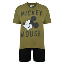 MENS SHORT PYJAMAS DISNEY MICKEY MOUSE EX STORE KHAKI/BLACK 2PC PJ SET BRAND NEW