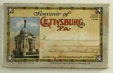 Vintage Paper Postcard Travel Souvenir Booklet Gettysburg Pa Battle Statues