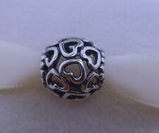 Genuine Authentic Pandora Sterling Silver 925ALE Hollow heart Bead/Charm