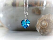 Swarovski Elements Herz Anhänger + Kette Silber 925, Herzkette blau, türkis NEU