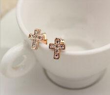 18K Rose Gold GP Austrian Crystal Beautiful Cute Cross Studs Earrings AC386