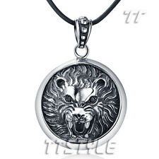 Ttstyle 316L Stainless Steel 3D Lion Round Pendant Necklace Extra Large