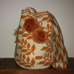 Authentic 100% Wayuu Mochila Colombian Bag Large Size Exclusive Mustard leaves