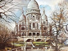 Paris Le Sacre Coeur Watercolor Art Print by Robert 1983 Lutece Editions France