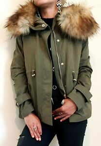 ZARA NEW QUILTED PARKA JACKET WITH FUR HOOD SIZE S