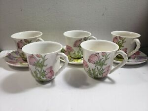 Set Of 3 Ernestine Salerno 871 Amaryllis  Tea Cups and Saucers + 2 Extra Cups