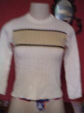 Girl's Xite Ltd Size L 7 White/Gray/beige Crew Neck LS Cable Knit Sweater EUC