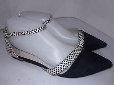 Aldo Black White Suede Flats Ankle Strap Closed Toe Womens Size 9