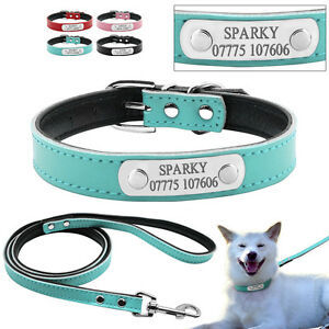 Custom Leather Dog Collar & Leash Set Name Plate ID Collar Engraved Free  S M
