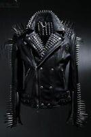 Men Spiked Studded Leather Jacket Punk Heavy Metal Button Up Jacket Black