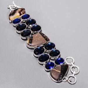 "Septerian Stone & Blue Sapphire 925 Sterling Silver Ethnic Bracelet 7-7.99"" B0-1"