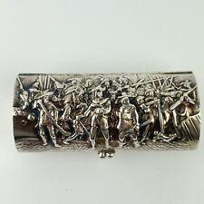More details for antique swedish solid silver trinket box cylinder embossed battle scene 7.3cm