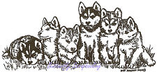 Husky Puppies Dog Wood Mounted Rubber Stamp NORTHWOODS - NEW, O9528