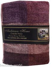 125cm x 150cm chenille carreaux violet plaid aubergine prune fauteuil canapé couvre-lit