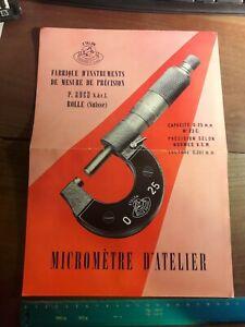 Feuillet publicitaire Micromètre Etalon Roch