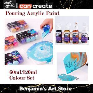 4pc 60/120ml Pouring Paint Kit Mont Marte Premium Acrylic Paint Set Arts