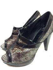 BKE Sole Womens High Heel Shoes Snake Print Open Toe Sz 7