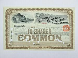 Missouri Kansas and Texas Railway Company Stock Certificate 10 Shares Common