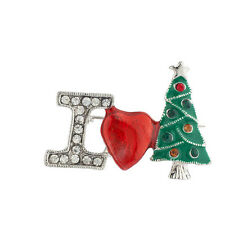 Christmas Xmas Tree Brooch Pin Lux Accessories Silver Tone I Love