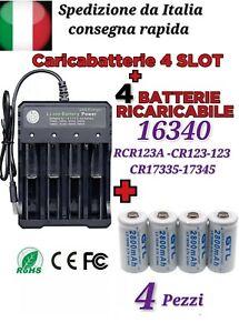 4x BATTERIE CR123A 16340 17335 RICARICABILE 280-450mAh + CARICABATTERIE 4 SLO