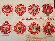 1980 Strawberry Shortcake Fabric w/ Holiday Ornaments Christmas, Snowman, Wreath
