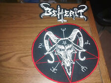 BEHERIT,SEW ON WHITE EMBROIDERED 2 PIECES SET  LARGE BACK PATCH