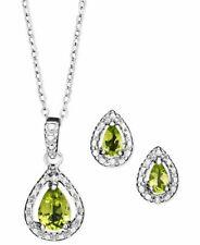 Victoria Townsend Genuine Peridot diamond Sterling Silver Necklace Earrings set
