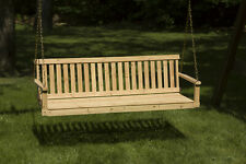 Porch Swing 5 ft. Traditional Wood Patio Outdoor Hanging Chain Bench With Chains