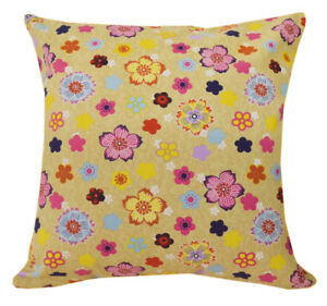 AF234a Yellow Blue Flower on Sand Cotton Canvas Cushion Cover/Case *Custom Size*