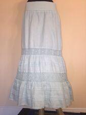 NEW!  J. Jill Tiered Linen Maxi Skirt Size 4 Light Blue Lace Trim  $139