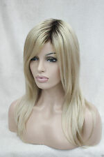 Ombre Blonde Mix With Dark Brown Root Long Straight High-Quality Synthetic Wig