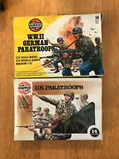 Vintage Airfix 1/32 Scale WWII American & German Paratroops 1 ea complete in box