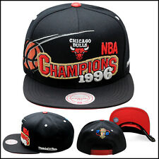 "Mitchell & Ness Chicago Bulls Snapback Hat All Black/""1996 Champions"""