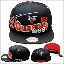 "Mitchell & Ness Chicago Bulls Snapback Hat All Black/""1996 Champions"""