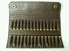 .22  LR, .22 rimfire Bullet wallet. 30 round.  Brown real leather with studs