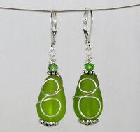SEA GLASS Teardrop Green Loop Swirl Silver LEVERBACK Earrings USA HANDMADE