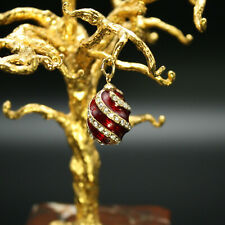 Faberge Egg Pendant Enamel Guilloche w/ Swarovski Crystals