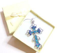 Something Blue Rhinestone Cross Pendant Necklace Gift Bridesmaid Flower girl Box
