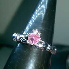 CLADDAGH IRISH LOVE RING. CREATED PINK SAPPHIRE SIZE R SILVER