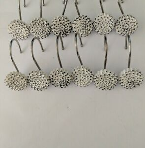Vintage White Black Carnation Shower Curtain Hooks - Set of 12