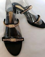 Giuseppe Zanotti Jeweled Kitten Heel Sandals Black Satin Rhinestone Euro 36.5