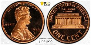 1972 S Lincoln Proof Penny PCGS PR67 RED DCAM Registry Coin Gold Shield TV 1C