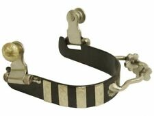 00004000 Showman Ladies Black Steel Bumper Rowel Spurs with Engraved Silver