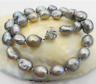 LARGE10-11MM SILVER GRAY REAL BAROQUE CULTURED PEARL NECKLACE