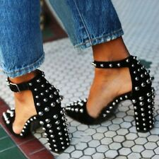 Womens Rivet Strap Pointed Toe Stilettos Block High Heel Club Buckle Suede Shoes