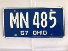 Vintage 1967 Ohio Automobile License Plate / MN 485