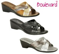 LADIES MULE Wedge Crossover Padded Sandals - Black Gold Silver  Size 3 4 5 6 7 8